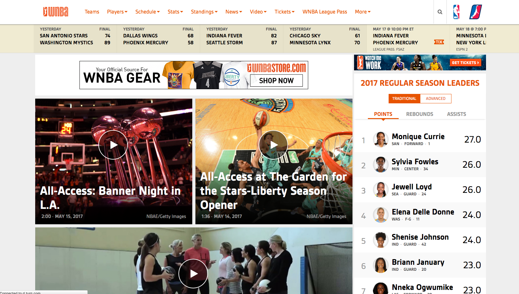 WNBA Wodpress Website