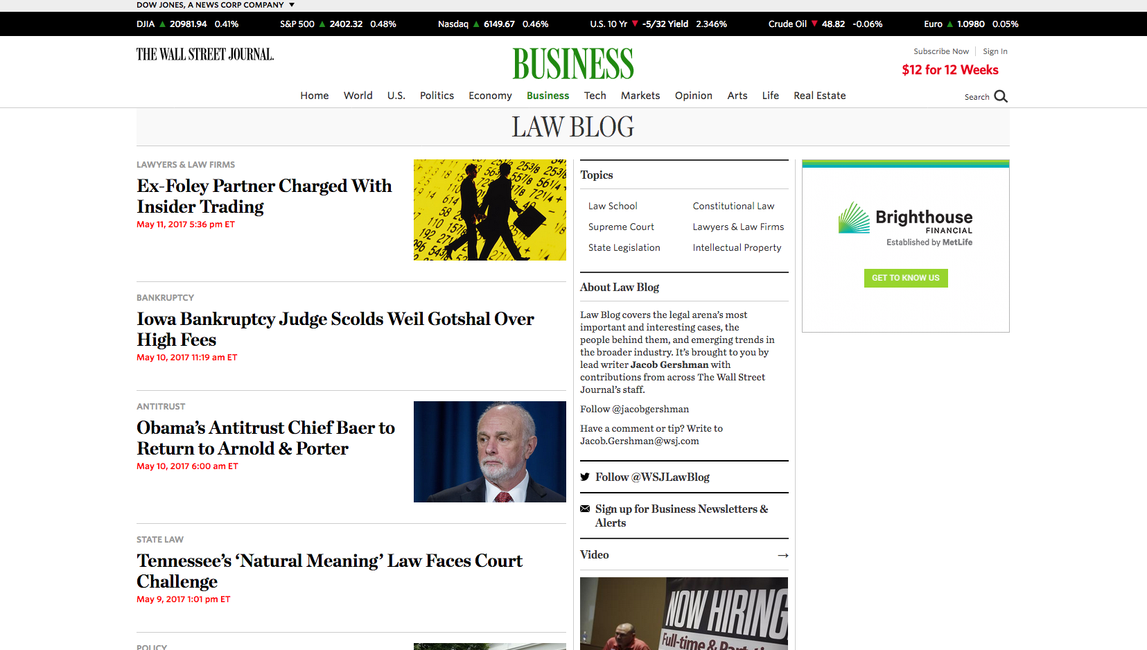 WSJ Law Blog